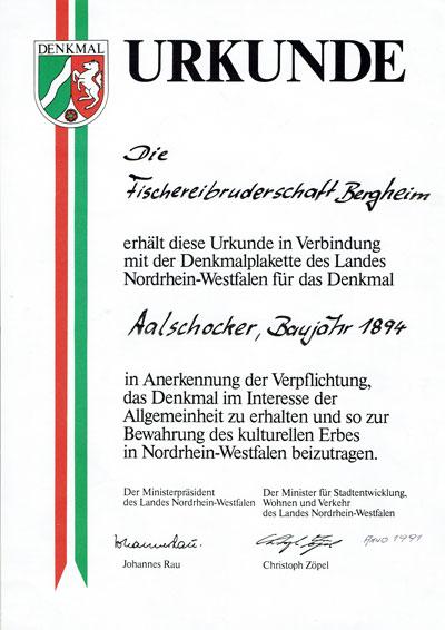 Aalschokker_Urkunde_Denkmal